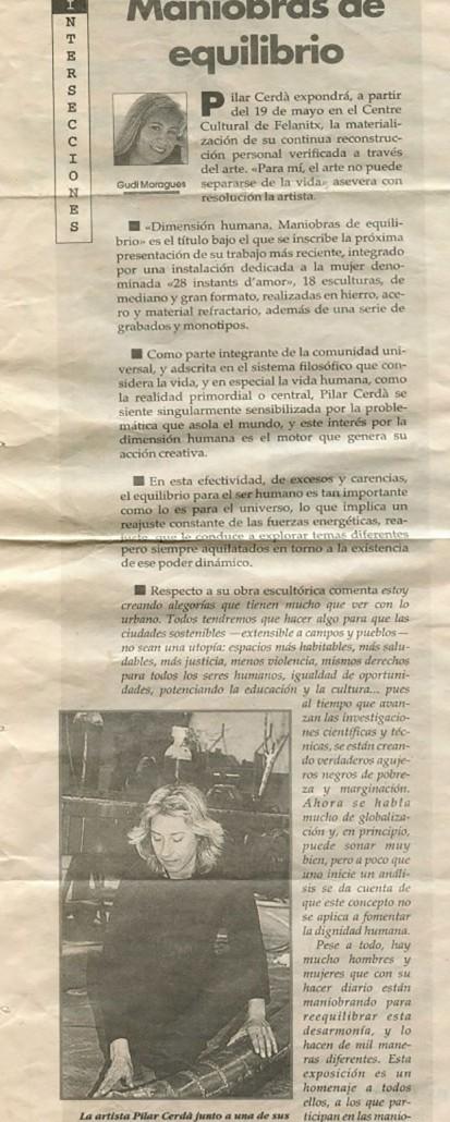 Prensa Pilar Cerdà 'Maniobres d'equilibri'