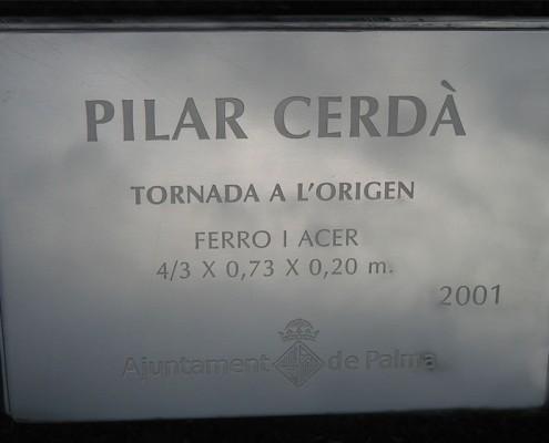 Placa Obra pública Pilar Cerdà 'Tornada a l'origen'